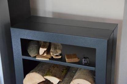 Bild von dřevník moderní design přístřešek modern koš krbový regál krbové dřevo 90x50x23 čtverec P
