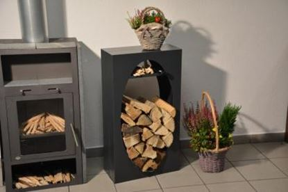 Bild von dřevník moderní design přístřešek modern koš krbový regál krbové dřevo 90x50x23 oko oval P
