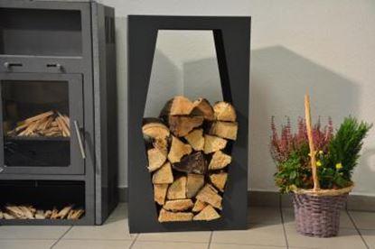 Bild von dřevník moderní design přístřešek modern koš krbový regál krbové dřevo 90x50x23cm 6hran