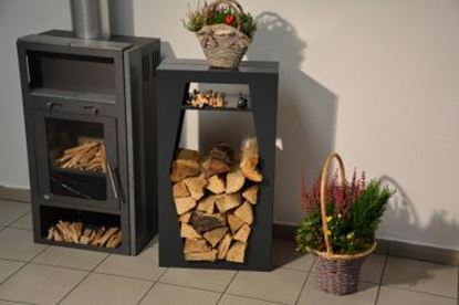 Image de dřevník moderní design přístřešek modern koš krbový regál krbové dřevo 90x50x23cm 6hranP