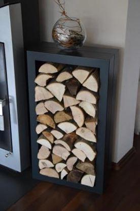Image de dřevník moderní design přístřešek modern koš krbový regál krbové dřevo 90x50x23cm čtverec