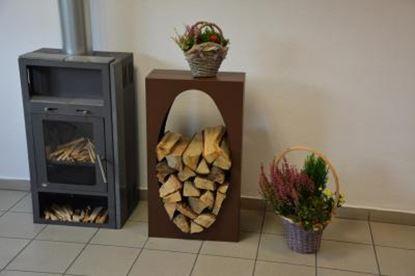 Image de dřevník moderní design přístřešek modern koš krbový regál krbové dřevo 90x50x23cm oko oval