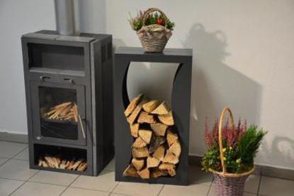 Image de dřevník moderní design přístřešek modern koš krbový regál krbové dřevo 90x50x23cm vlna