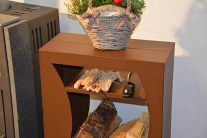 Bild von dřevník moderní design přístřešek modern koš krbový regál krbové dřevo 90x50x23cm vlna aP