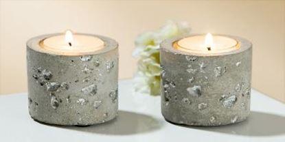 Image de moderní betonový stojánek pro čajové svíčky 2ks beton 5x6cm