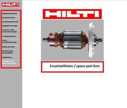 Image de HILTI Service CD-ROM CD ROM Listes des pièces de rechange Vues éclatées Photos Photos Numéros d'article Des prix et bien plus