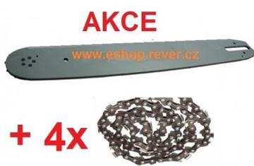 Obrázek 105cm vodící lišta 3/8 a4 řetězy hranatý zub Stihl 044 MS 440 GRATIS OLEJ pro 5L paliva