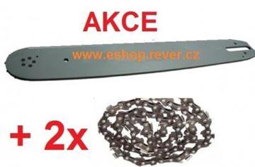 Obrázek 40cm vodící lišta 3/8 a 2 řetězy kulatý zub Stihl MS 341 MS 361 GRATIS OLEJ pro 5L paliva