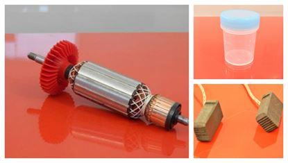Bild von Anker Rotor Lüfter Bosch GWS 15-125 GWS15-125 CIEP CIP CIE CI 181mm ersetzt original 1607000V35 (ekvivalent) Wartungssatz Reparatursatz Service Kit hohe Qualität Fett und Kohlebürsten GRATIS