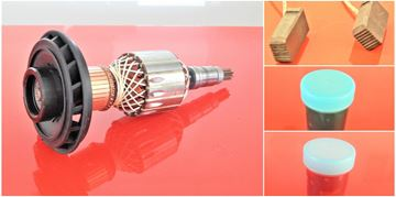 Obrázek kotva rotor do Bosch GBH10 DC GSH10-C GSH10 nahradí 11073 20073 a ventilator uhlíky mazivo nahradí originál 1614011073 16172220073 - armature anker armadura armatura Reparatursatz Wartungssatz service repair kit
