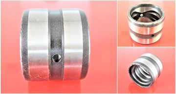 Picture of 35x45x45 mm steel bushing inside with lubrication groove / outside with lubrication groove / 2x lubrication hole replace Bobcat 6539825 Hanix 17624-0009 Schaeff 5527657022 Volvo 11802247 / E3870028 Yanmar x172141-82270 172159-81480