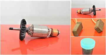 Bild von Anker Rotor Lüfter Metabo WX25-230 WX25-230 ersetzt original 31000703 (ekvivalent) Wartungssatz Reparatursatz Service Kit hohe Qualität Fett und Kohlebürsten GRATIS