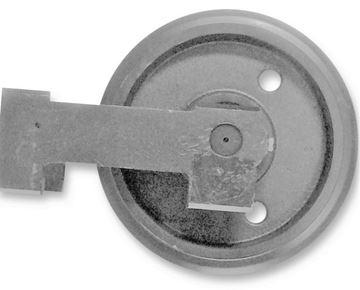 Picture of Idler wheel incl. brackets - total wheel height 228/266mm fits Komatsu PC12R-8 PC14R-2 PC15MRX PC15MR1 3D86E-3K PC15R-8 PC16R-2 PC16R-3 / HS PC18MR3 PC14R-3 and others