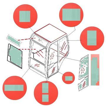 Obrázek sklo kabiny pro Terex Schaeff HR1-5 HR1.5 HR1/5 HR2.0 HR2-0 HR2/0 HR3-7 HR 3.7 HR3/7 Terex TC/16 TC/20 TC/37 TC16 TC20 TC37 TC-16 TC-20 TC-37 kvalita skleněná výplň