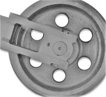 Bild von Idler Leitrad Spannrad inkl. seitlichen Schuhen / Führungen Gesamthöhe Rad 331/372mm für Kubota KX057-4 KX161-3 U45 U45-3 U50-3 U48-4 U55-4