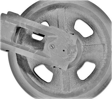 Bild von Idler Leitrad Spannrad inkl. seitlichen Schuhen / Führungen Gesamthöhe Rad 390/443mm für Kubota KX080-4 KX080.4 KX080-3