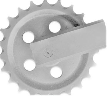 Picture of Idler wheel incl. brackets and with teeth - total wheel height 299/338mm JCB 802 803 804 Magnum 8032 8025 8027 ...