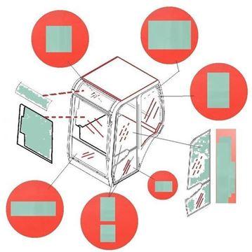 Obrázek KABINOVÉ (KABINA) SKLO PRO HITACHI / EX300-5 LC EX330-5LC EX350-5H|LCH|K EX370-5 LCK|HD EX400-5 LC EX450LC-5 LCH|H EX550-5 LC EX600-5 LCH|H EX750-5 EX800-5H