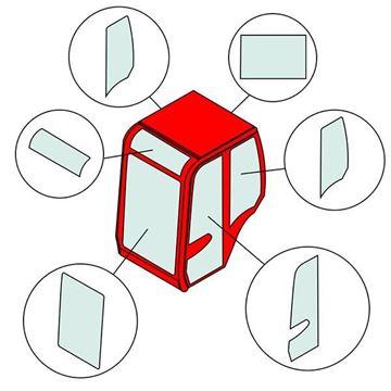 Obrázek KABINOVÉ (KABINA) SKLO PRO KUBOTA KX36-3 KX41-3 KX41-3S KX41-3V (2004-2011) přední sklo zadní sklo střešní sklo dveřní sklo boční sklo