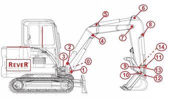 Immagine di spine boccole spessori guarnizioni per Takeuchi TB180 TB180FR TB180FR TB 180FR da serie 17830004 a 17840386 con miniexcavatore motore Yanmar